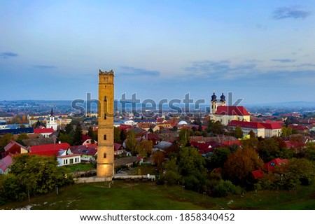 Calvary hill in Tata city hungary. Amazing photo about a geolocial open-air  museum and nature reserved area. There is Jakab Fellner lookout tower a chapel and iconic water tower Stock fotó ©