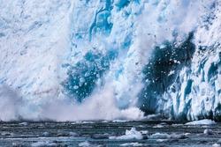 Calving Aialik Glacier, Kenai Fjords National Park, Alaska