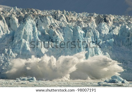 Calving glacier in Alaska. - stock photo
