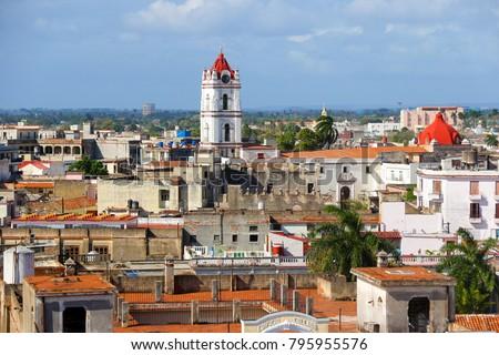 Shutterstock Camagüey, Cuba - Aerial view of the Iglesia De Nuestra Señora De La Merced from above