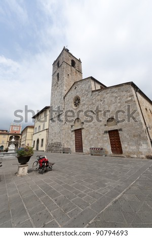 Camaiore (Lucca, Tuscany, Italy) - The cathedral and its white facade