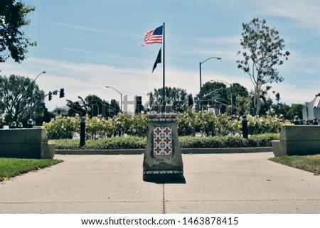 Camarillo, California - July 28 2019: War memorial honoring veterans in Constitution Park in Camarillo, California. #1463878415