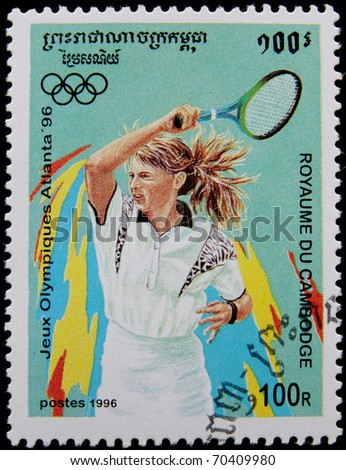 CAMBODIA - CIRCA 1996: A post stamp printed in Cambodia showing female tennis player, devoted olympic games in  Atlanta circa 1996