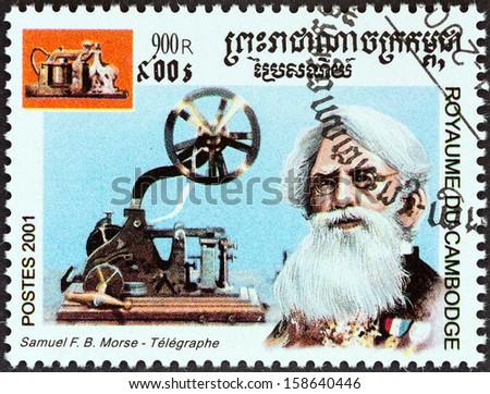 "CAMBODIA - CIRCA 2001: A stamp printed in Cambodia from the ""Millennium "" issue shows Samuel Morse, telegraph, circa 2001."