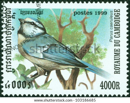 CAMBODIA - CIRCA 1999: stamp printed by Cambodia, shows bird, circa 1999