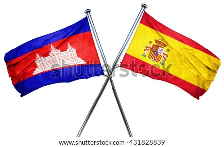 Cambodia flag with Spain flag, 3D rendering