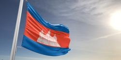 Cambodia national flag cloth fabric waving on beautiful sky.