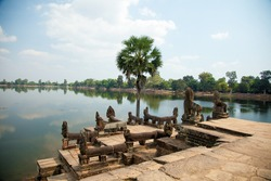 Cambodia river lake temple khmer landscape in Krong Siem Reap