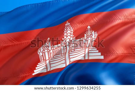 Cambodian flag. 3D Waving flag design. The national symbol of Cambodia, 3D rendering. Cambodian National colors. Cambodia 3D Waving sign background design. 3D ribbon, wallpaper, pattern background