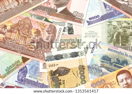 cambodian riel banknotes indicating economics #1313561417