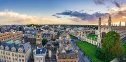 Cambridge aerial panorama at sunset