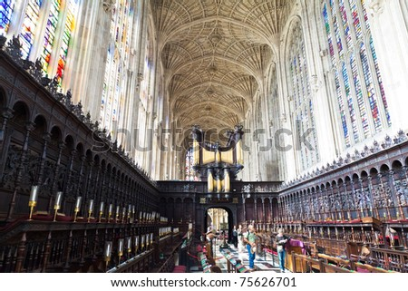 CAMBRIDGE, ENGLAND - APRIL 16 : King's college pictured on April 16, 2011 in Cambridge, England.  Founded in 1441 by King Henry VI, it has the world's largest stained glass windows.