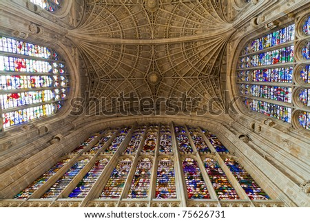 CAMBRIDGE, ENGLAND - APRIL 16 : King's college pictured on April 16, 2011 in Cambridge, England.  Founded in 1441 by King Henry VI, it has the world's largest stained glass windows. - stock photo