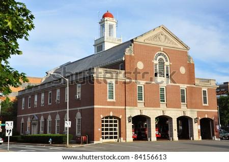 Cambridge Fire Department near Harvard Yard, Cambridge, Massachusetts, USA - stock photo