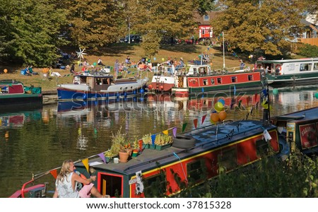 CAMBRIDGE, UK - SEPT. 27: River boats are open to the public during Cambridge Boat Open Day, September 27, 2009 in Cambridge, UK