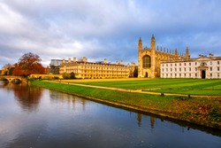 Cambridge, UK. View of University with Chapel in Cambridge, England, UK during the cloudy autumn day