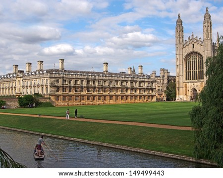 Cambridge University, King's College viewed from across the river Cam