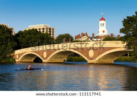 CAMBRIDGE, USA - SEPTEMBER 14: The John W. Weeks Bridge which connect Cambridge to Allston in MA is a vantage point from which to enjoy the Head of Charles Regatta. Photographed on September 14, 2012.
