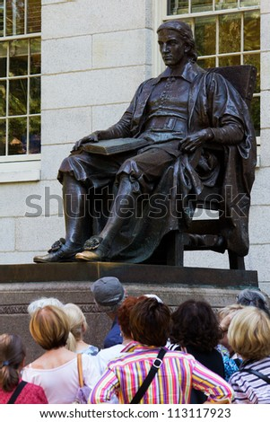 CAMBRIDGE, USA - SEPTEMBER, 14: The third most photographed statue in America, The John Harvard Monument in the Harvard University in Cambridge, Massachusetts, USA on September 14, 2012.