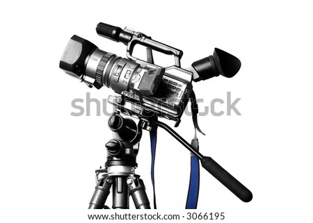Camcorder on a professional tripod