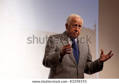 CAMDEN, ME- AUGUST 13: Pulitzer Prize winning author David McCullough speaks to an audience at Camden Opera House about his book The Greater Journey-Americans In Paris on August 13, 2011 in Camden, ME