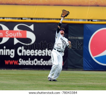 CAMDEN, NJ - MAY 26: Charlotte 49'er outfielder Shane Brown prepares to catch a fly ball during an Atlantic Ten baseball tournament game against Charlotte on May 26, 2011 in Camden, NJ.