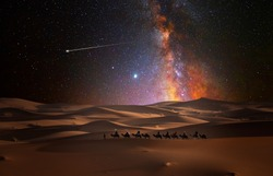 Camel caravan in the desert on a starry night