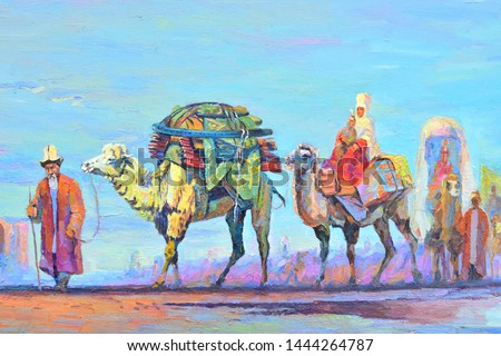 Camel caravan in the steppe oil painting