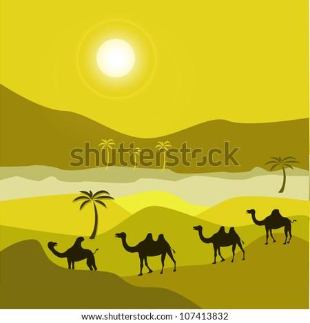 Camel caravan moving through desert