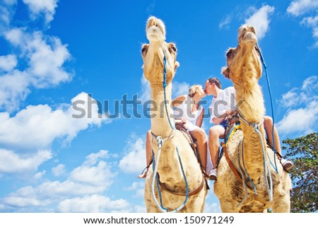 camel ride on wedding day - focus on faces