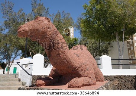 Camel Sculpture in Tuineje, Canary Island Fuerteventura, Spain