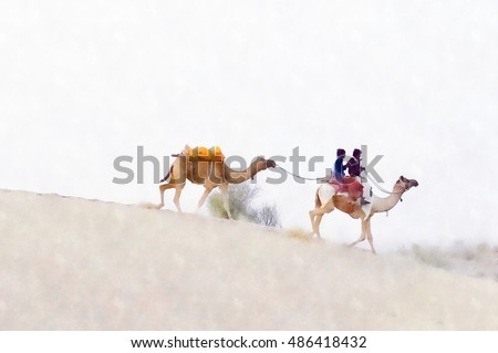 Camel with people on Sand Dunes (Digital painting post processing)
