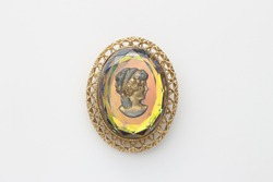Cameo style vintage brooch oval jewelry
