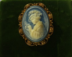 Cameo with Lady ornate gold tone blue and white brooch
