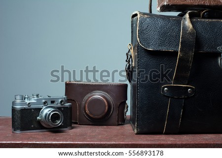 camera and carrying case on old ...