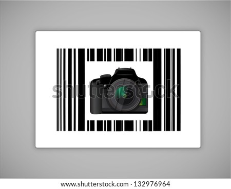 camera bar ups code illustration design over a white background