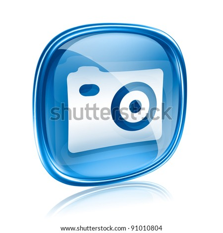 Camera icon blue glass, isolated on white background