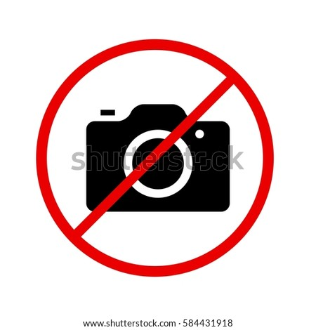 Camera icon in prohibiting red circle, No photos ban sign, Forbidden to take pictures symbol. illustration Сток-фото ©