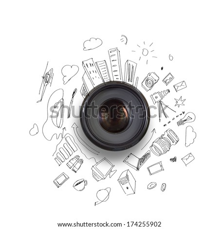 Camera lens against light background. Photography business #174255902