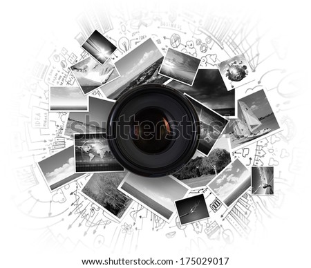 Camera lens against light background. Photography business