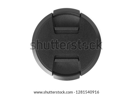Camera lens cap, isolated, white background, top view #1281540916