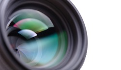 Camera lens closeup with copyspace. Shallow DOF.