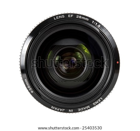Camera lens front shot isolated on white background
