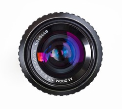 Camera lens front sight close up