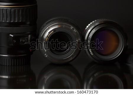 Camera Lens  isolated on black background 01