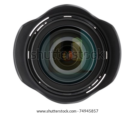 Camera lens isolated on white background