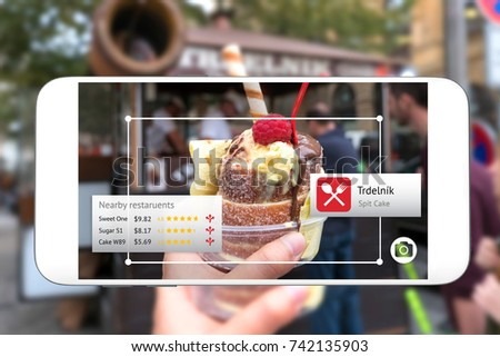 Camera lens , Machine and deep Learning analytics identify objects technology , Artificial intelligence concept. Software ui analytics and recognition spit cake navigation to nearby restaurant.