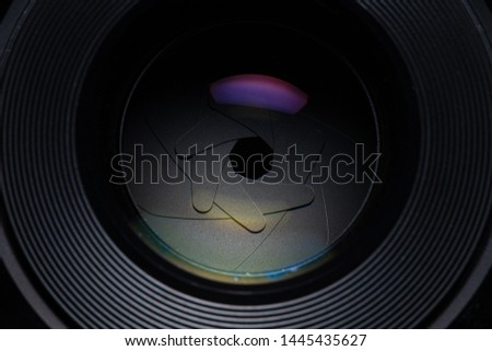 Camera lens,Macro of an iris,Camera - Photographic Equipment, Lens - Optical Instrument, Circle, Metal, Single Object #1445435627