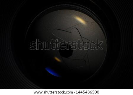 Camera lens,Macro of an iris,Camera - Photographic Equipment, Lens - Optical Instrument, Circle, Metal, Single Object #1445436500