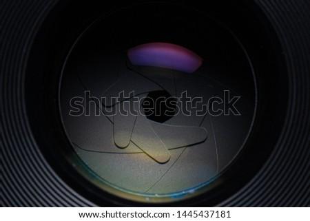 Camera lens,Macro of an iris,Camera - Photographic Equipment, Lens - Optical Instrument, Circle, Metal, Single Object #1445437181